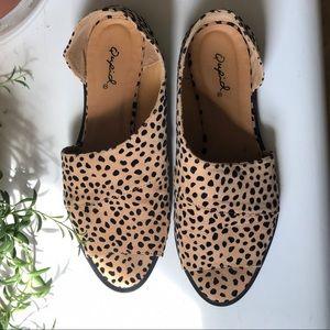 Quips Open Toe Leopard Flats